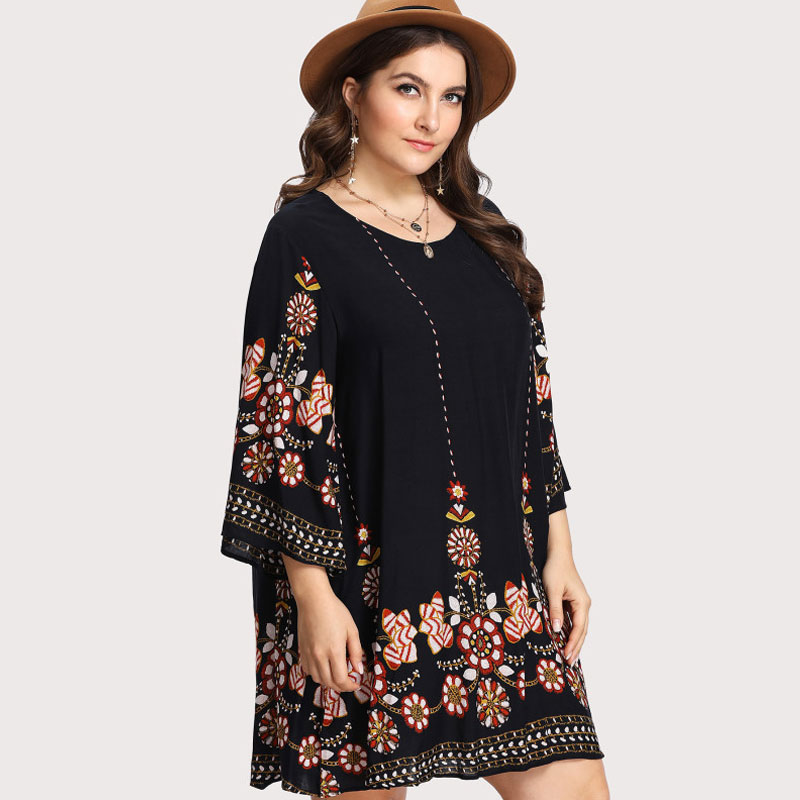 Black Plus Size Floral Embroidery Tunic Dress