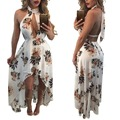Echoine Женщины Цветочный Принт Пляж Шифон Dress Новая Мода Асимметричный Холтер V Шеи Спинки Макси Платья Плюс Размер Vestidos