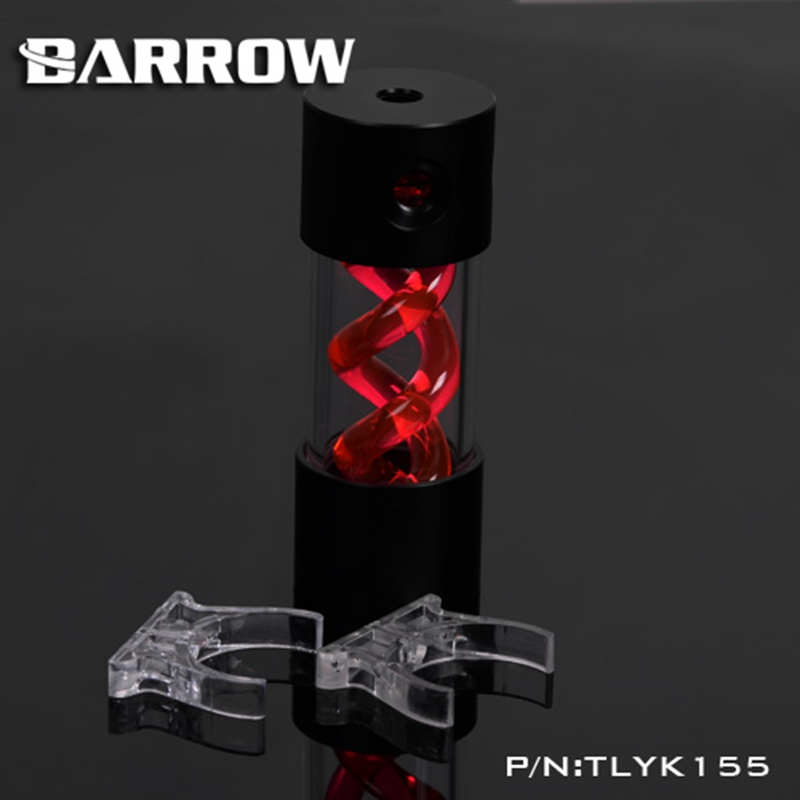 Barrow T Virus Helix Suspension Cylinder Water Tank 155mm Red With Black Cap Water Cooling  Reservoir TLYK155 barrow 155mm x 50mm double helix t virus cylindrical water cooled coolant tank light system pom pmma white cover 5 color tlyk155
