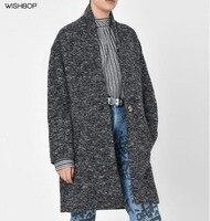 WISHBOP 2017 DARK Grey OSBERT OVERSIZE COTTON BLEND WOOL COAT Iconic Shape Masculine Collarless One Button