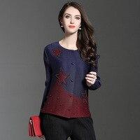 Avrupa Sonbahar Couture Tırnak Boncuk Bir Boyut Gevşek Kat Kısa Lady Patchwork Resmi Perçin T-shirt