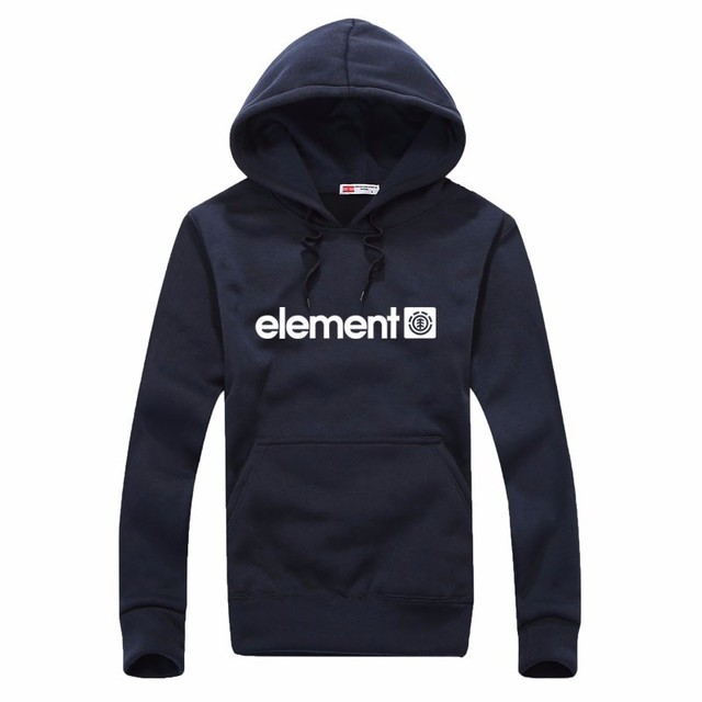 Element Print Solid Fleece Hoodies 4