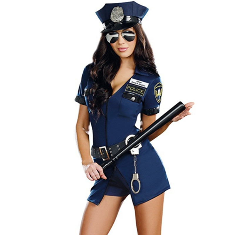 Halloween Policewoman Costumes Adult Ladies Short Sleeve Blue Female Officer Cop Costume Uniform Party Sexy Police Costume