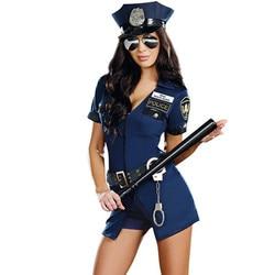 Хеллоуин костюм женщины-полицейского для взрослых женщин короткий рукав синий женский полицейский костюм униформа для вечеринки сексуаль...
