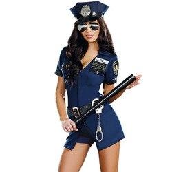 Хэллоуин костюм женщины-полицейского взрослых женщин с коротким рукавом синий женский полицейский костюм униформа вечерние Сексуальные П...
