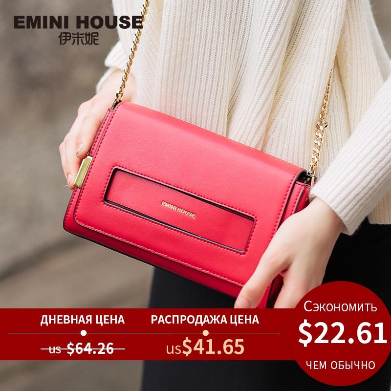 EMINI HOUSE Split Leather Flap Bag New Design Women Messenger Bags Casual Clutches Women Shoulder Bags