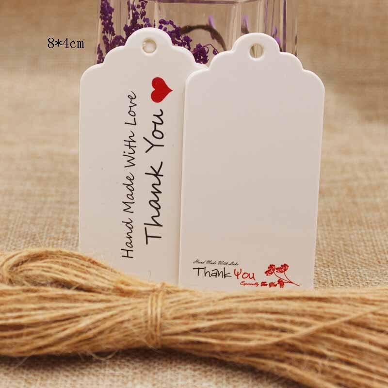 Гребешок свадебной тег этикетки крафт-подарок метка Спасибо Подарки бумаги/свадебной/файлы cookie декоративные tag50pcs + 50 строка