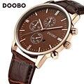 2017 mens relógios doobo casuais marca de luxo militar quartz sports relógio de pulso pulseira de couro relógio masculino relógio relogio masculino