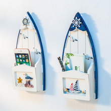 Wooden Boat Shape Letter Box Mediterranean Wall Hanging Groceries Decoration Storage Holders Creative Multi-function Organizer