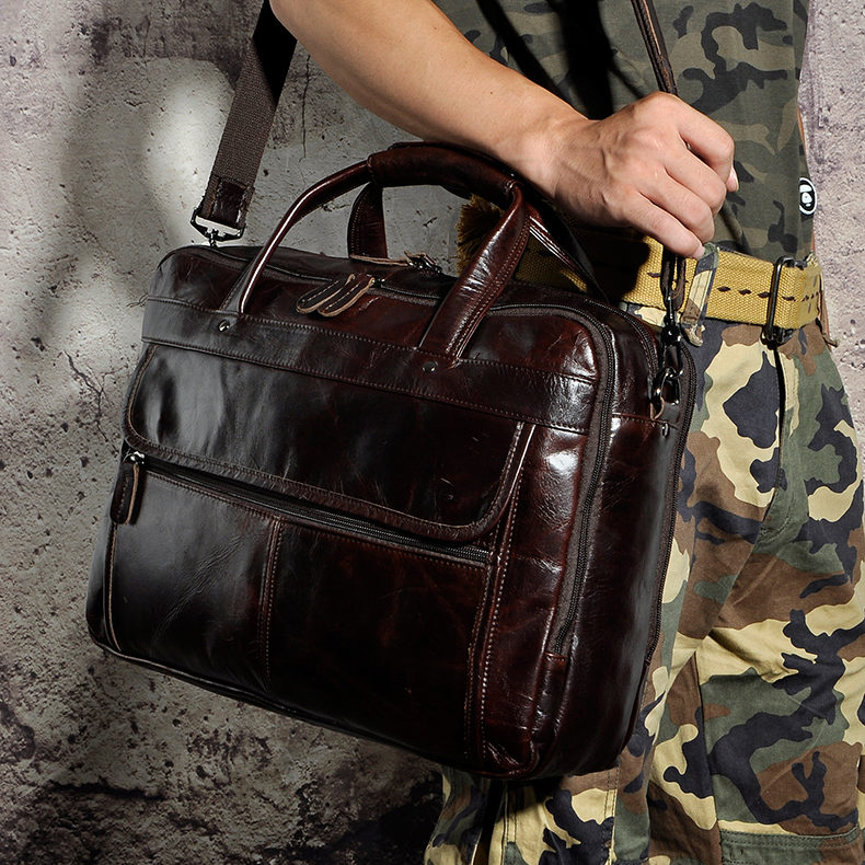 "Image 5 - Top Quality Men Real Leather Antique Style Briefcase Business 15.6"" Laptop Cases Attache Messenger Bags Portfolio B1001-in Briefcases from Luggage & Bags"