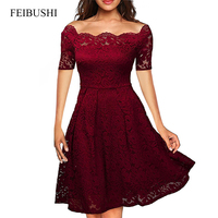 FEIBUSHI 2017 Summer Embroidery Sexy Women Lace Off Shoulder Dresses Short Sleeve Casual Evening Party A