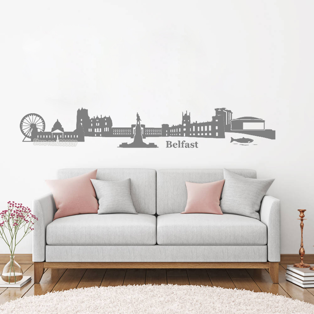 Living Room Suites Northern Ireland Home Rooms Skyline Of Belfast Vinyl Wall Decal Beautiful City Decor Mural Modern Decorative Sticker Lc127 In Stickers From