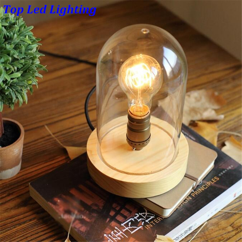 Creative Handmade Wood Glass Table Lamps For Bar Restaurant Bedside - Led table lights for restaurants