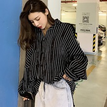 Fashion Women Long-sleeved Shirts Casual Female Blouses Summer Loose Striped Lapel