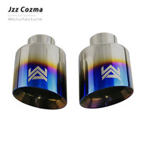 Jzz 2.5'' WA blue black car tailpipe stainless steel exhaust muffler rolled double wall outlet slant end pipe free shipping