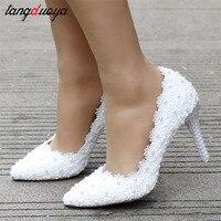 ladies white wedding shoes woman high heel pearl pumps women shoes thin heel shoes ladies high heels women zapatos de mujer
