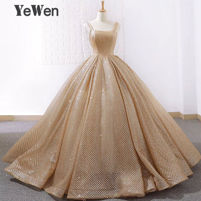 YeWen Gold Bling Sequined   Evening     Dresses   2019 Spaghetti Strap Floor Length Party Gown Luxury   Evening   Gowns Prom   Dress   Ball Gown