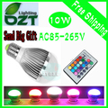 AC85-265V 9W E27 E14 GU10 MR16 RGB Led Lighting Colorful LED Bulb Lamp Spotlight with Remote Control