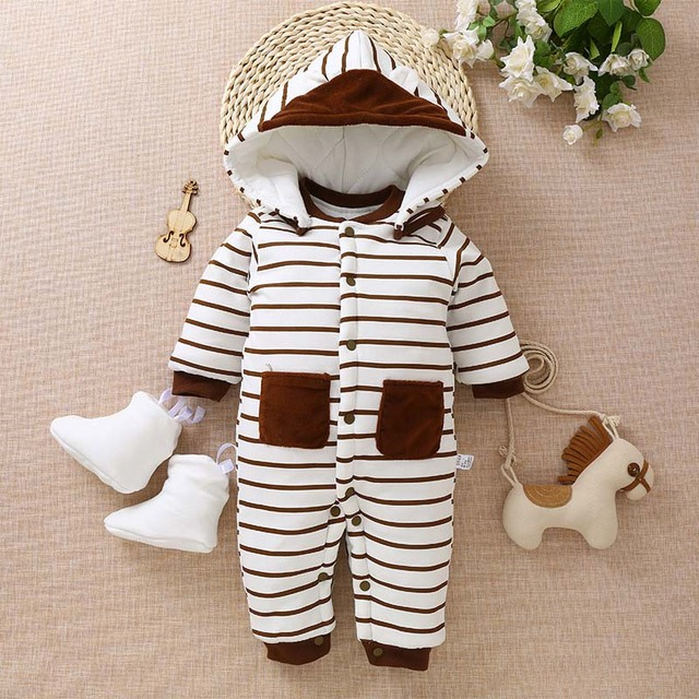 890efe3cf BibiCola baby rompers winter warm thick striped pajamas clothing ...