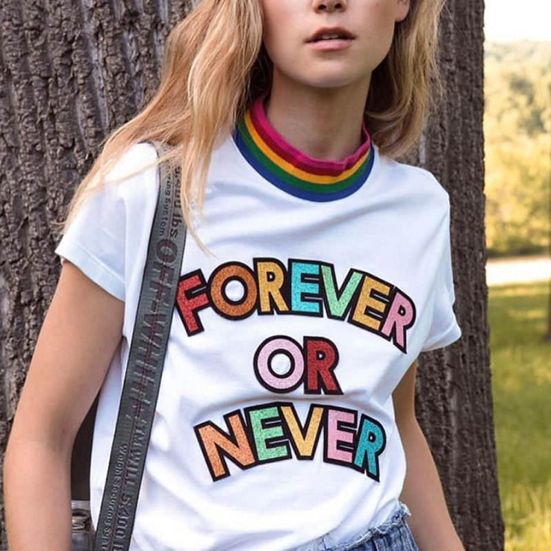 Factory 2018 New Cotton Funny T Shirt Rainbow Striped Colorful Bright Letter Summer Women Short Sleeve Female T-shirt harajuku