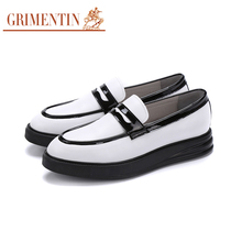 NEW GRIMENTIN 2017 New Casual Male Shoes Genuine Leather White Mens loafers Shoes Men Flats Size:6-10.5