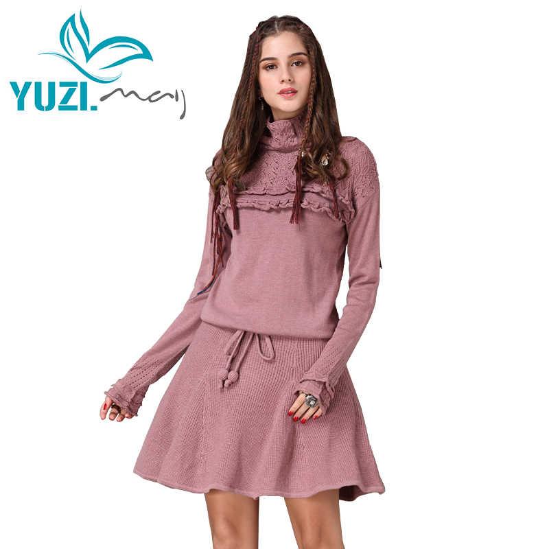 שמלת החורף לנשים 2017 Yuzi. may Boho ניו כותנה צמר גולף ראפלס מחרוזת מותן אונליין שמלות נשים Vestidos A82075