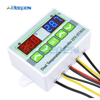 DC 12V 24V AC 110-220V ST3012 LED Digital Dual Thermometer Temperature Controller Thermostat Incubator Microcomputer Dual Probe