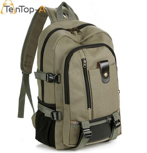 TenTop A New Fashion arcuate shoulder strap zipper solid casual bag men backpack school bag canvas