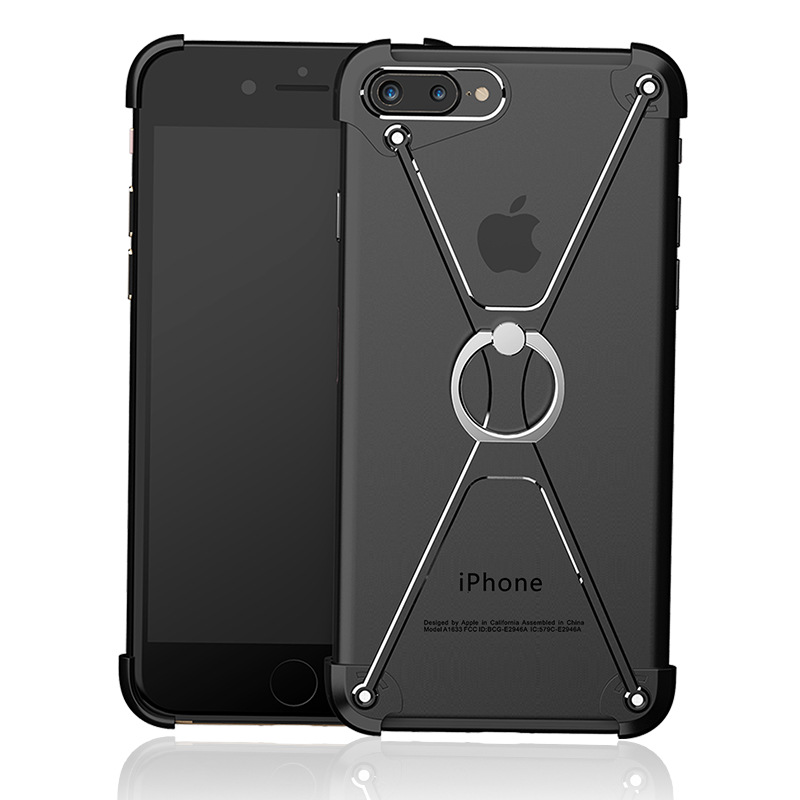 SMSNXY Mobile Phone Case For iPhone 6 6s 7 8Plus X Shape Ultra-Thin Aluminum Metal Shockproof Protect Frame Cover Ring Holder