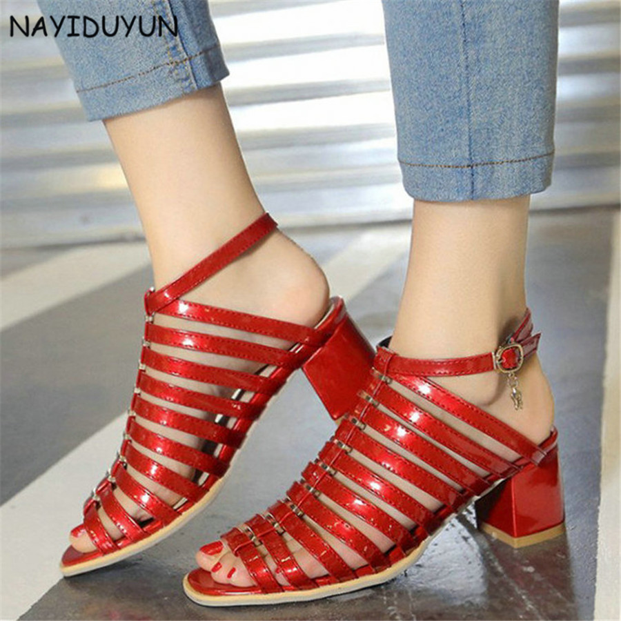 NAYIDUYUN    Fashion Women Patent Leather Ankle Straps Gladiator Sandals Open Toe Cut Out Summer Party Pumps Casual Shoes nayiduyun shoes women cow suede strappy sandals roman gladiator sandals platform wedges creepers party casual shoes summer size