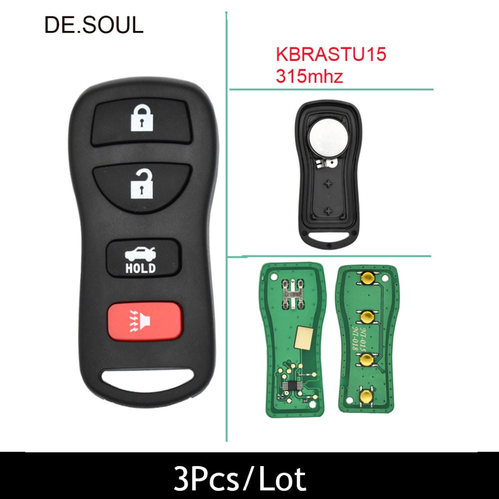 DE.SOUL 3Pcs/Lot Remote Key Fob DIY For Nissan Armada Frontier Murano Pathfinder Quest Titan Xterra 2002-2007 Original Keys ...