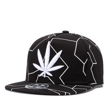 Maple Leaf Hip Hop Hat Men Women Cap Cotton Adjustable Black White 2 Colors