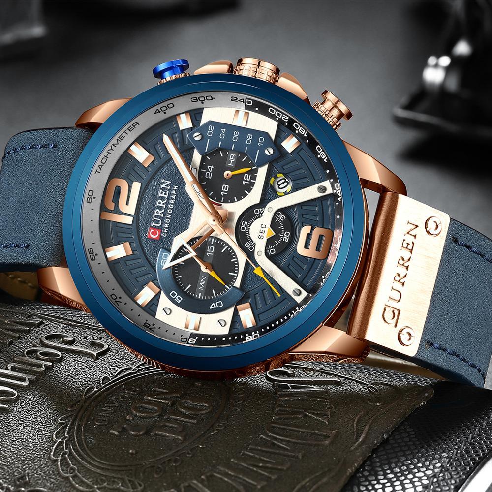 CURREN Luxury Leather Chronograph Wristwatch 1