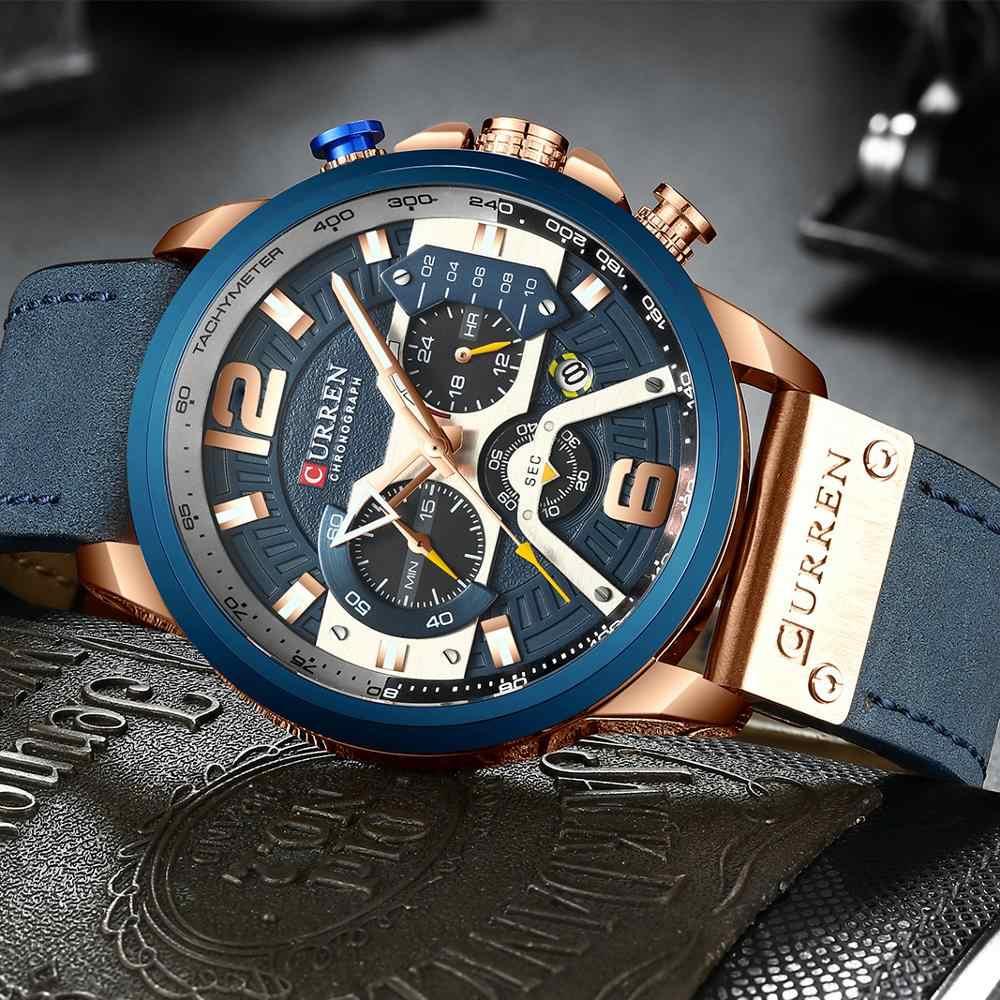 CURREN Casual spor saatler erkekler için mavi üst marka lüks askeri deri kol saati erkek saat moda Chronograph kol saati