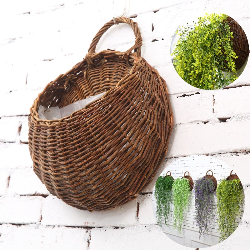 Us 7 23 14 Off Artificial Flowers Wall Mounted Basket Hanging Plant Pots Wicker Planters For Garden Wedding Home In