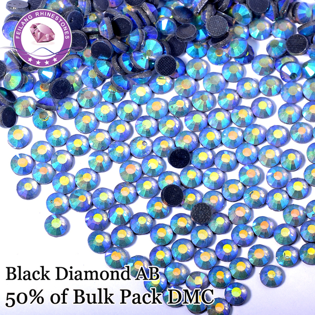 Black Diamond AB High Quality Iron On Stones DMC Hotfix Rhinestones Decorated On Garments Bags Shoes