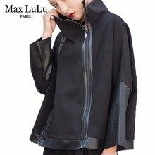 ماكس لولو موضة الخريف الكورية نمط السيدات الشرير الشارع الشهير المرأة الأسود جلدية المرقعة سترة سستة خمر الياقة المدورة معطف