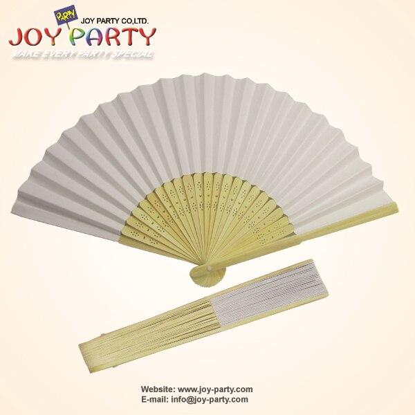 10 PC / lot 21cm 화이트 컬러 종이 핸드 팬 웨딩 파티 장식 홍보 호의