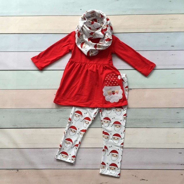 ОСЕНЬЮ НАРЯДЫ привередливый девочки 3 шт. с шарфом устанавливает девушки Рождественские брюки наборы дети Санта одежды дети красный верхняя одежда