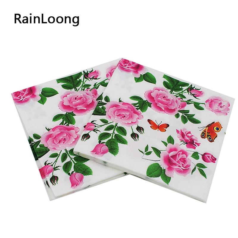 20pcs 33*33cm Flamingo Bird Pineapple Paper Napkin Party Tissue Decoration