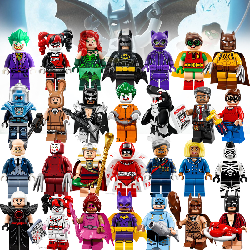 Joker&Harley Quinn Mini Brick Single Sale Super Heroes Robin Catwoman Glam Metal Batman Building Block Toys Gift For Children loz mini blocks batman robin ironman thor loki harley quinn poison mini super hero bricks diy building blocks toys gift