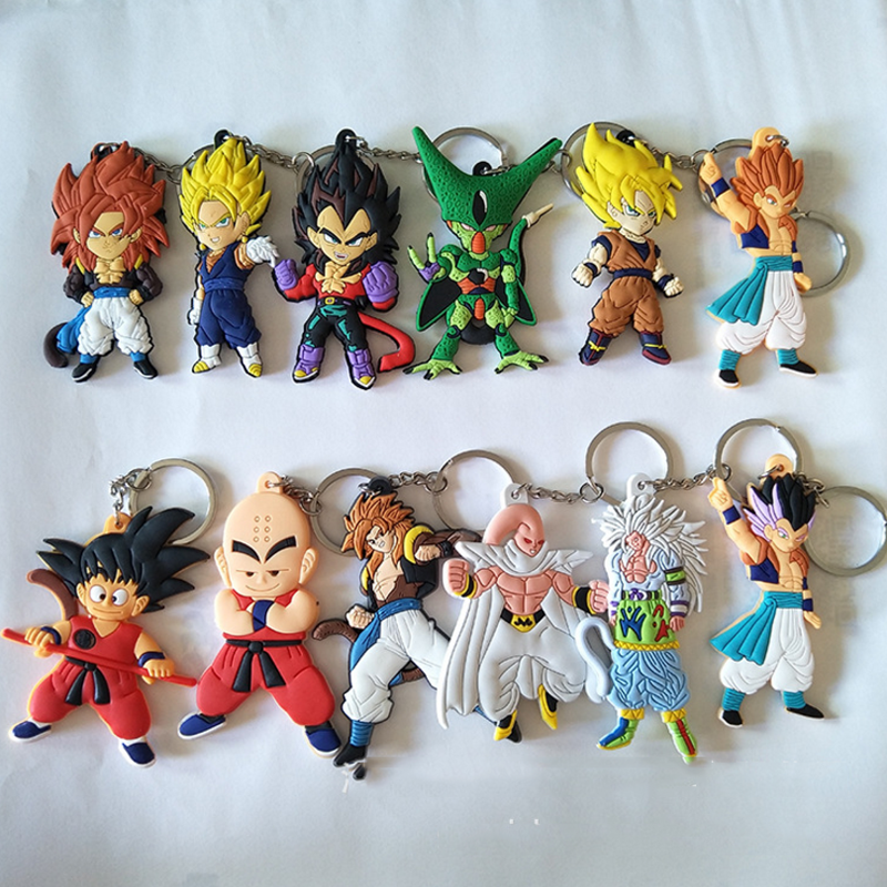 1 pcs new Dragon ball PVC Keychain Chaveiro Pingente de anime dragonball evolution Goku Kuririn brinquedo