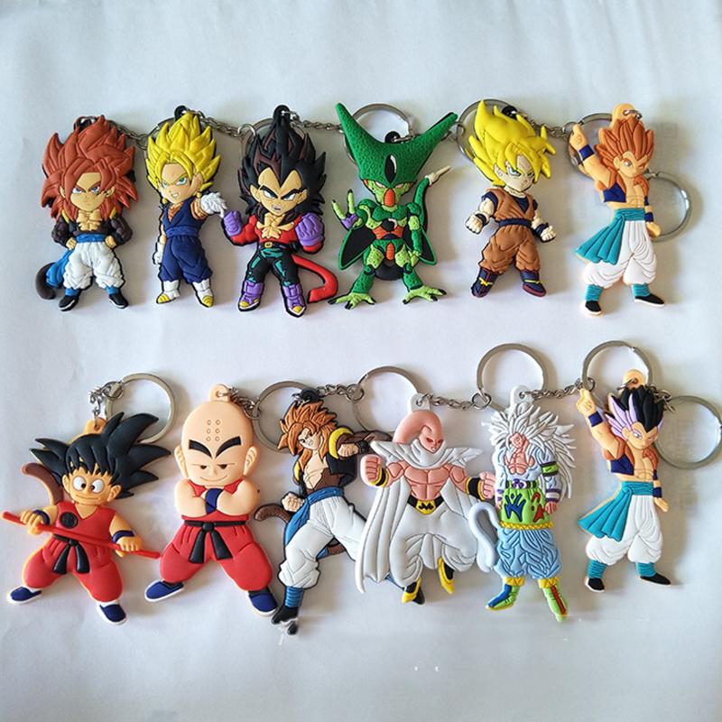1 pcs new Dragon ball PVC Keychain Chaveiro Pingente de anime dragonball evolution Goku Kuririn brinquedo
