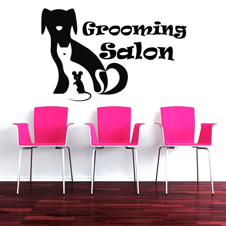 Grooming Salon Pet Shop Vinyl Wall Decal Creative Dog Cat Barber Mural Art Wall Sticker Pet Salon Home Decoration