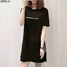 Women T Shirt Dress Round Neck Letter Print Short Sleeve Long T-Shirt Side Slit Simple Casual Korean Style Long Tops