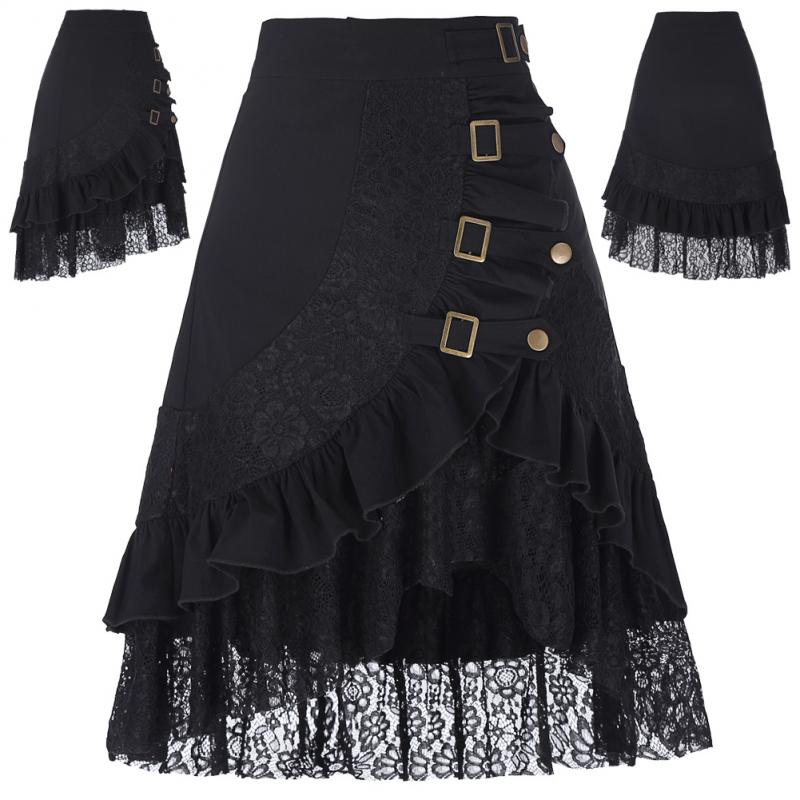 Ladies Vintage Skirts Womens Steampunk Gothic Clothing Party Gypsy Hippie Skirt Ruffles Lace Hem Midi Length Skirt Faldas Mujer