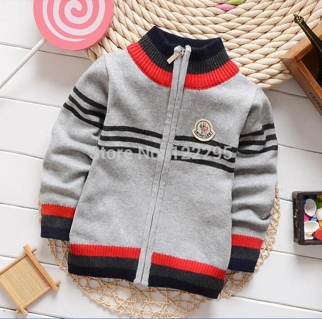 Children baby spring coat autumn and winter boys famous fashion design model zipper collar sweater, knit collar coat boy