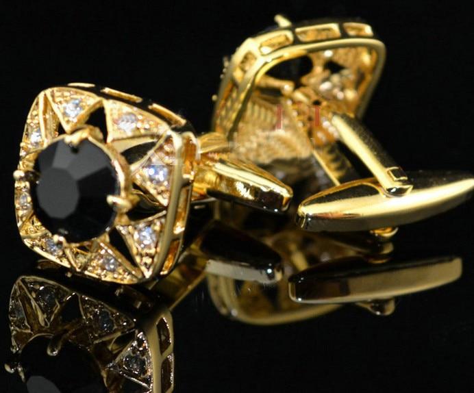 Pulsuz çatdırılma Crystal Cufflinks 6 rəng seçimi dəyirmi - Moda zərgərlik - Fotoqrafiya 2