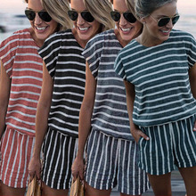 LOSSKY Striped Short Jumpsuit Sexy Short Sleeve O Neck Pockets Gray Playsuit Jumpsuits 2018 Summer New