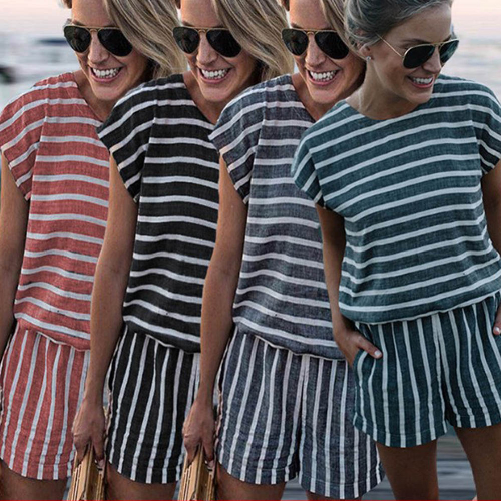 LOSSKY Striped Short   Jumpsuit   Sexy Short Sleeve O Neck Pockets Gray Playsuit   Jumpsuits   2018 Summer New Casual Beach Mini Rompers